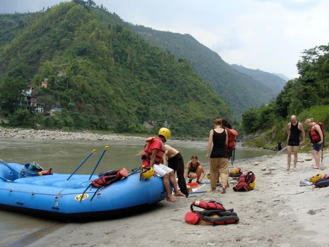 Our rafting group on the banks of the Mugling River