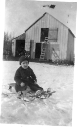 Ed, in front of the barn, House on Indiana St., Des Moines, circa 1920