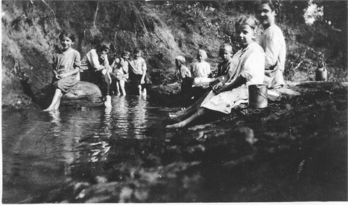 Lattas at the creek near their house in Des Moines, circa 1915